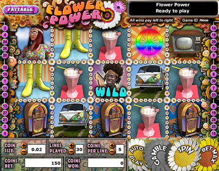 bingo liner flower power 5 reel online slots game