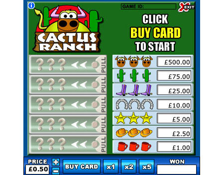 bingo liner cactus ranch online instant win game