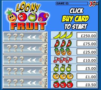 bingo liner loony fruits pull tabs online instant win game