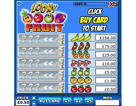 bingo liner loony fruit online instant win game