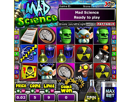 bingo liner mad scientist 5 reel online slots game