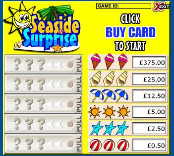 bingo liner seaside surprise pull tabs online instant win game