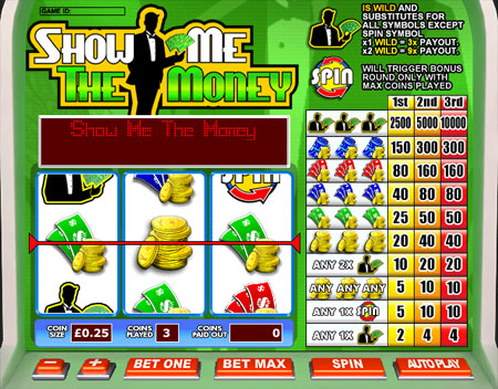 bingo liner show me the money 3 reel online slots game