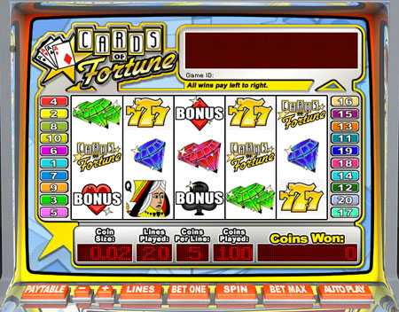 bingo liner cards of fortune 5 reel online slots game