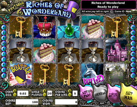 bingo liner riches of wonderland 5 reel online slots game